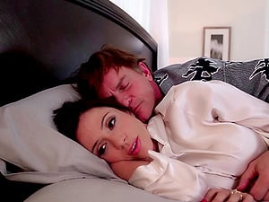 Big tits brown-haired gets woken up to an orgasmic fuck by dangled hubby