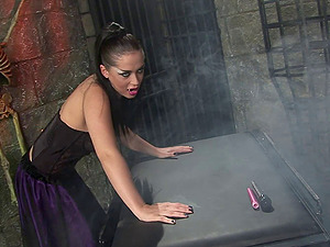 Vampire stunner tempts a sexy doll in costume and fucks her