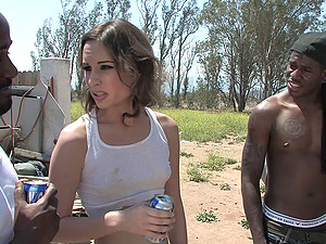 Interracial threesome in the junkyard with a milky rubbish cockslut