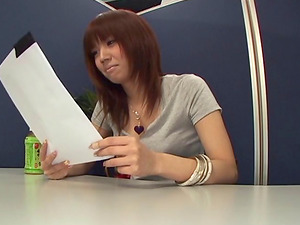 Public hump activity when an Asian dame fucks during a job interview