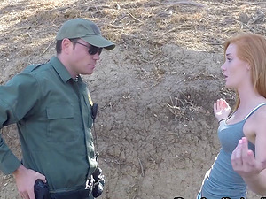 Guys working for the border patrol fuck a sexy sandy-haired