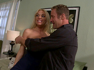Stunner with monster tits gets taken from behind on the couch
