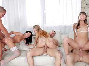 A group of friends get together and end up having a wild orgy