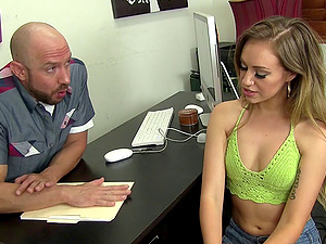 During a job interview she fucks the manager to get the job