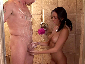 Cutie strips off her satin bathrobe and drains off a dick
