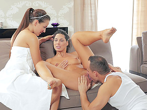 Ladies learn the value sharing when they bring a stud home