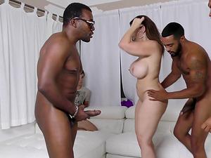 Milky boy observes Sara Jay get laid in an interracial gang-fuck