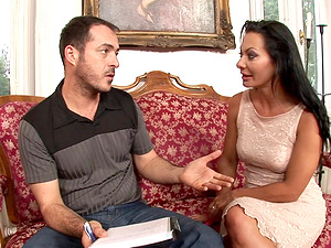 Dark haired Cougar with natural tits is glad she got a divorce