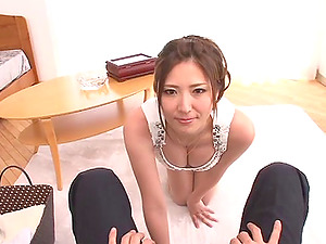 Gorgeous Japanese female with superb cleavage deep-throats a dick