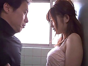 Japanese biz nymph in the bathroom fucked by a horny boy
