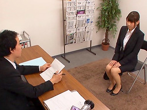 Gonzo job interview with a adorable Japanese dark haired