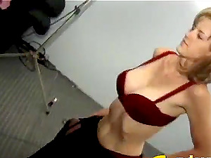 Bitchy blonde with faux big tits sucking and fucking a diminutive shaft