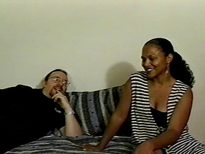Dazzling dark-hued caresses her titties while getting her vulva sucked ahead of doggystyle invasion