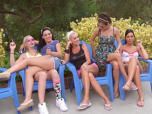 A group of hot femmes get naked by the pool and have some joy