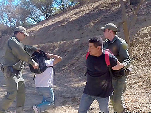 Cop fucking a Latina honey up against at tree in the desert