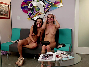 Naked stunners relieving in sofa after some hot g/g joy