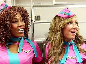 Blonde stewardess has her cunt eaten out and fucked by the pilot