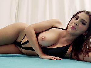 Milky dark-haired bombshell needs a Big black cock inbetween her tits and in her asshole