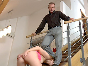Slender Euro female in high high-heeled shoes gets a thorough butt fucking