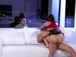 Nerdy dude catches his wifey fucking another dude on their couch