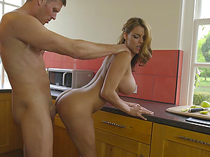 Lunch break turns into some hard fucking on the kitchen counter