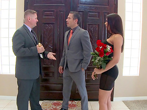 The hot wifey fucks a businessman to get a good deal on a building