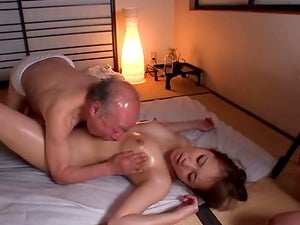 Oiled up Asian Mummy gets massaged and finger-tickled by an older man