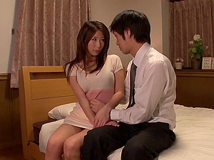 Japanese bitch entices a man and has her trimmed cootchie fucked