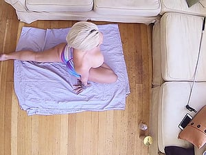 Curvy blonde with brief hair fellates a dick and fucks doggystyle