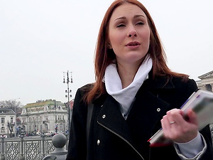 Russian sandy-haired tart picked up by a stranger and mouth fucked