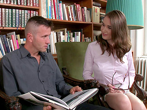 Fellow drives his dick into the hot librarian right on her desk