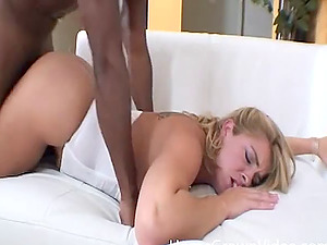 Natasha's hairless milky vulva is ready for his chocolate dong