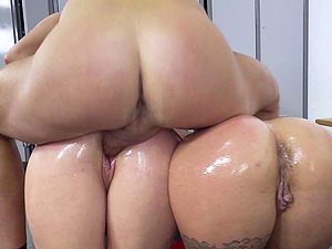 Buxom stunners in the breathtaking rear end style threesome venture