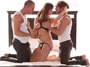 Two dudes team up to tag team the sexy Holly Michaels