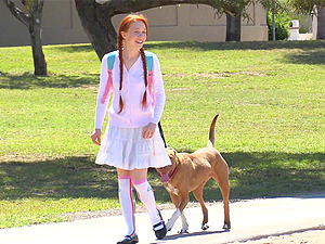 Red-haired cutie goes outdoors only to have fun around with her private parts