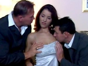 Gorgeous first-timer taking two dicks in an arousing threesome MMF