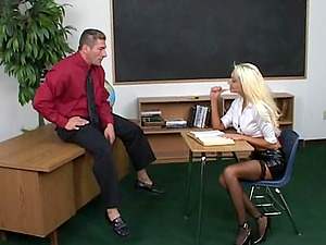Spandex miniskirt and fishnets bitch guzzles dick and fucks in class