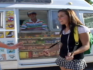 Coed in her school uniform gets a Ice-cream and dick from the ice splooge man