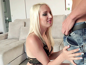 Appealing blonde likes sucking a man rod pending doggystyle intrusion