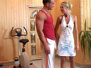 lecherous stunner works out ahead or an orgasmic fucking pending a facial cumshot