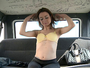 Taut and whorish cutie fucked in a van and covered in spunk
