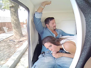 Bj in a little car and a hot fuck in her bedroom