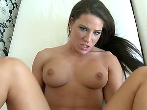 Savory black-haired has a clean-shaven cunny and a fine wish for pounding