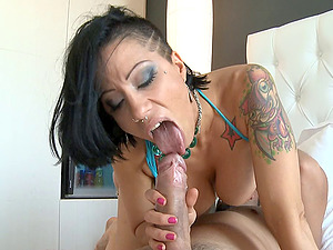 Solid stunner with large tits and wicked tattoos rails with true passion