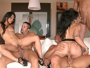 Sex-positive friends fucking in a diminutive orgy with antsy guys