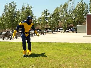 Yellow gloved superhero fucks a hoe he meets in public