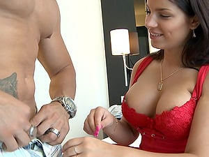 Nice titties on a vamp sucking and railing his meat