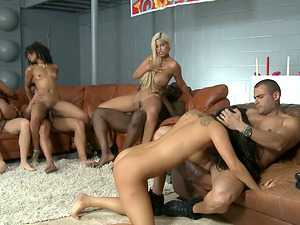 Group of hot pornographic stars throw a soiree that becomes an orgy