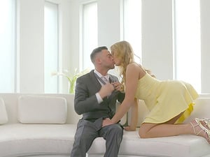 Ideal yellow sundress on a lovely damsel fucking his fat man sausage