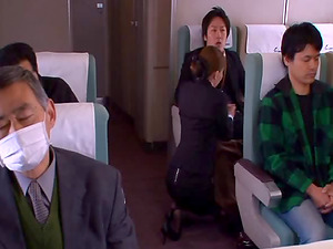 Asian stewardess goes home with guys that fuck her snatch